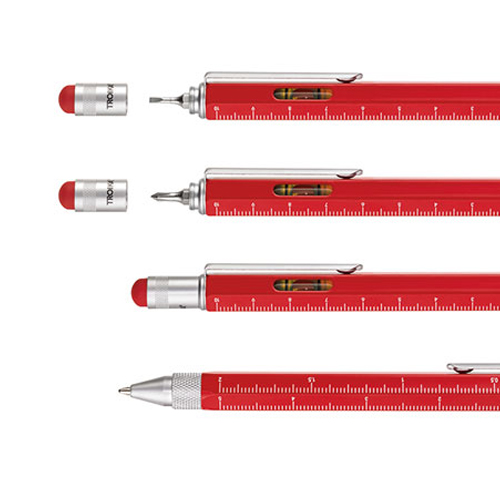 Stylo multifonctions Construction rouge